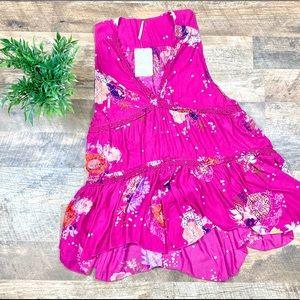 BNWT Free People Floral Tiered Ruffle Tank Size XS